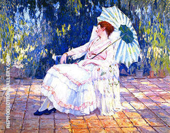 Reverie 1920 Medora on the Terrace By Alson Skinner Clark Replica Paintings on Canvas - Reproduction Gallery