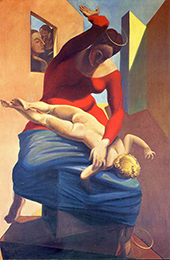 Young Virgin Spanking the Infant Jesus In Front of Three Witnesses 1926 By Max Ernst