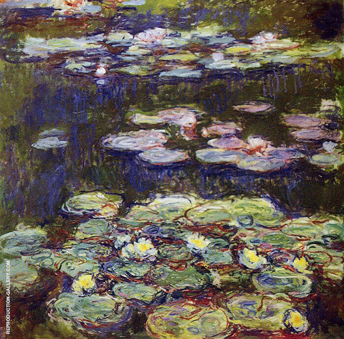 White and Yellow Water Lilies c1917 By Claude Monet