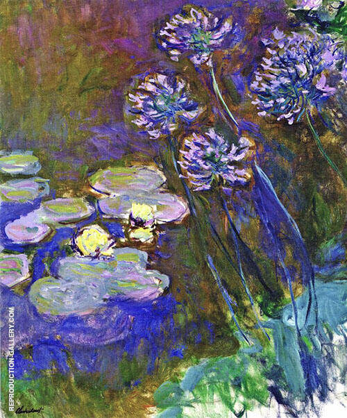 Water Lilies and Agapanthus 1917_821 Painting By Claude Monet