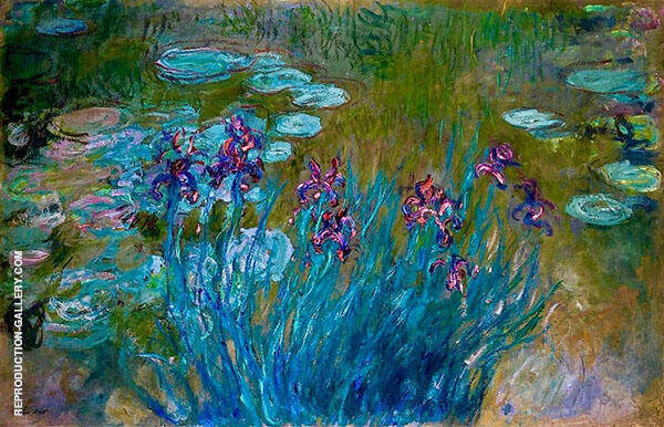 Irises and Water Lilies 1917_823 Painting By Claude Monet