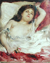 Semi-nude Woman In Bed The Rose By Pierre Auguste Renoir