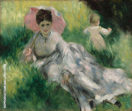 Woman with a Parasol and a Small Child c 1874 By Pierre Auguste Renoir