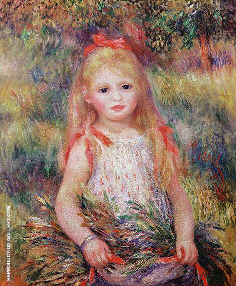 Reproduction of Little Girl Carrying Flowers 1888 by Pierre Auguste Renoir | Oil Painting Replica On CanvasReproduction Gallery