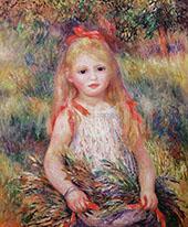 Little Girl Carrying Flowers 1888 By Pierre Auguste Renoir