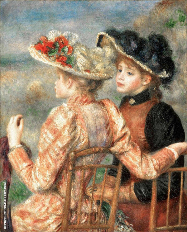 Two Seated Young Girls By Pierre Auguste Renoir