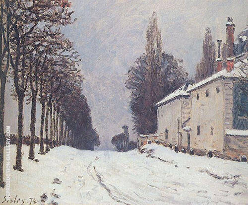 Snow on the Road Louveciennes 1874 By Alfred Sisley Replica Paintings on Canvas - Reproduction Gallery