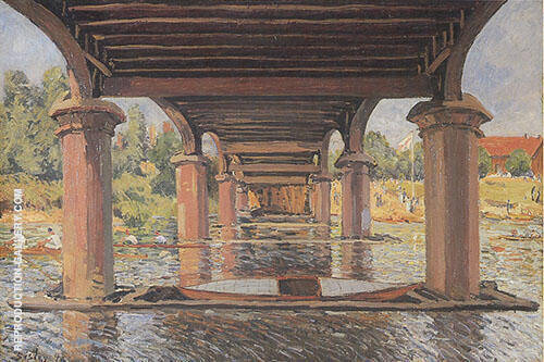 Under the Bridge at Hampton Court 1874 By Alfred Sisley Replica Paintings on Canvas - Reproduction Gallery