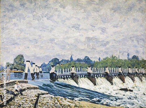 Molesey Weir Morning 1874 By Alfred Sisley Replica Paintings on Canvas - Reproduction Gallery