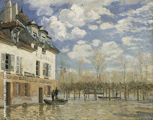 Boat in the Flood at Port Marly 1876 By Alfred Sisley Replica Paintings on Canvas - Reproduction Gallery