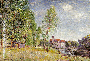 Martrat's Boatyard, Moret-sur-Loing c 1883 By Alfred Sisley - Oil Paintings & Art Reproductions - Reproduction Gallery