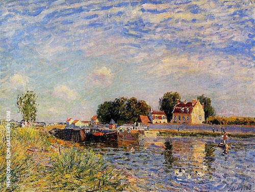 The Canal du Loing at St Mammes 1885 By Alfred Sisley Replica Paintings on Canvas - Reproduction Gallery