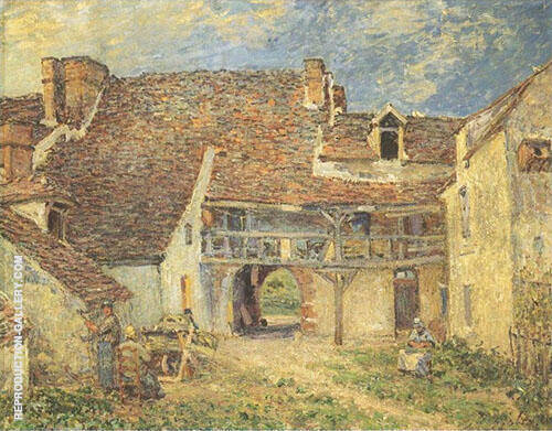 Courtyard of Farm at St Mammes 1884 By Alfred Sisley Replica Paintings on Canvas - Reproduction Gallery