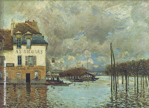 Flood at Port Marly 1876 Painting By Alfred Sisley - Reproduction Gallery