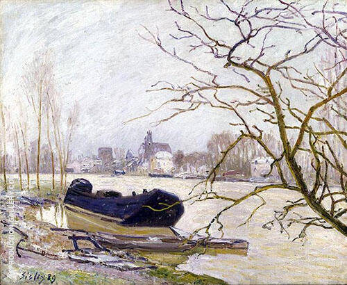The Loing at High Water 1889 By Alfred Sisley Replica Paintings on Canvas - Reproduction Gallery