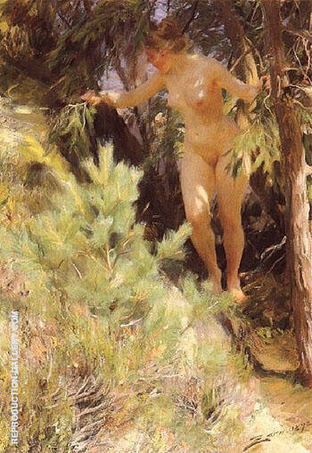 Naken under en Gran 1892 By Anders Zorn Replica Paintings on Canvas - Reproduction Gallery