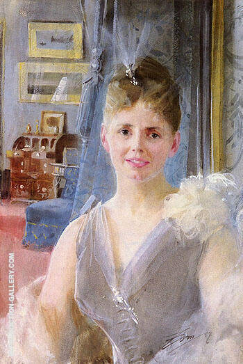 Portrait Of Edith Palgrave Edward In Her London Residence By Anders Zorn - Oil Paintings & Art Reproductions - Reproduction Gallery