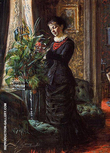 Portrait of Fru Lisen Samson, nee Hirsch, Arranging Flowers at a Window By Anders Zorn