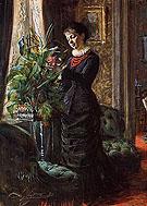 Portrait of Fru Lisen Samson, nee Hirsch, Arranging Flowers at a Window By Anders Zorn
