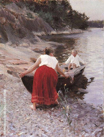 Woman in Red Skirt By Anders Zorn - Oil Paintings & Art Reproductions - Reproduction Gallery