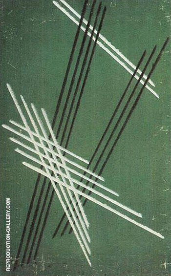 Lines on Green Background 1919 By Aleksandr Rodchenko - Oil Paintings & Art Reproductions - Reproduction Gallery