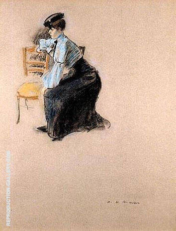 A Parisian Woman in a Cafe By Alfred Henry Maurer
