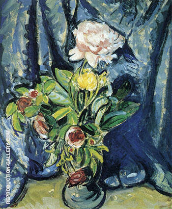 Flowers Against a Blue Drape 1926 By Alfred Henry Maurer - Oil Paintings & Art Reproductions - Reproduction Gallery