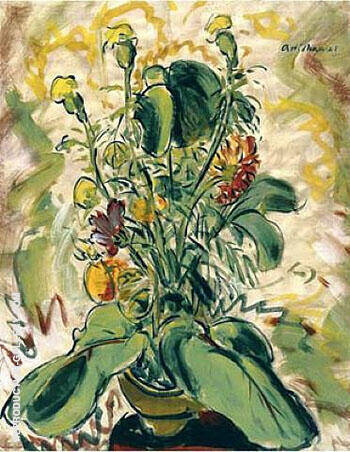 Flowers with Two Leaves 1928 By Alfred Henry Maurer Replica Paintings on Canvas - Reproduction Gallery