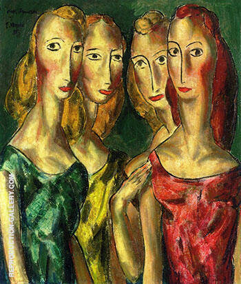 Four Sisters 1931 By Alfred Henry Maurer - Oil Paintings & Art Reproductions - Reproduction Gallery