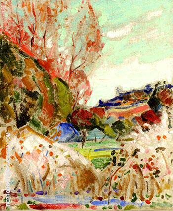 Landscape in Green and Pink By Alfred Henry Maurer
