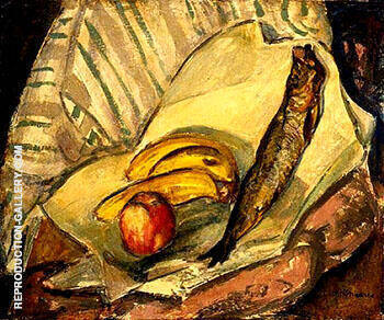 Reproduction of Still Life with Bananas Apple and Trout c1912 by Alfred Henry Maurer | Oil Painting Replica On CanvasReproduction Gallery