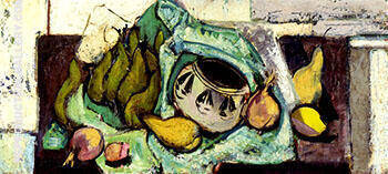 Still Life with Pears and Indian Bowl c1928 By Alfred Henry Maurer - Oil Paintings & Art Reproductions - Reproduction Gallery