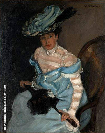 Reproduction of The Black Parasol Gabrielle c1924 by Alfred Henry Maurer | Oil Painting Replica On CanvasReproduction Gallery
