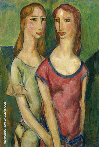 Two Girls Holding Hands By Alfred Henry Maurer - Oil Paintings & Art Reproductions - Reproduction Gallery