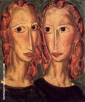 Two Heads c1924 By Alfred Henry Maurer - Oil Paintings & Art Reproductions - Reproduction Gallery