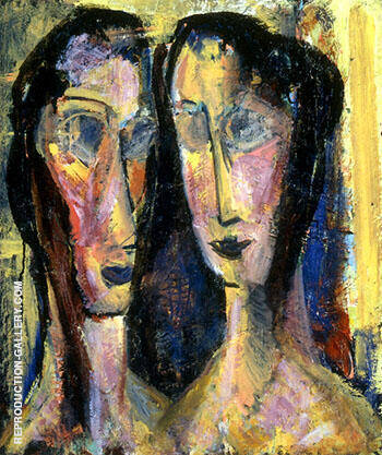 Two Heads with Yellow Background c1928 By Alfred Henry Maurer - Oil Paintings & Art Reproductions - Reproduction Gallery