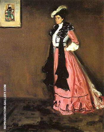 Woman in Pink Portrait of Roselle Fitzpatrick 1902 By Alfred Henry Maurer - Oil Paintings & Art Reproductions - Reproduction Gallery