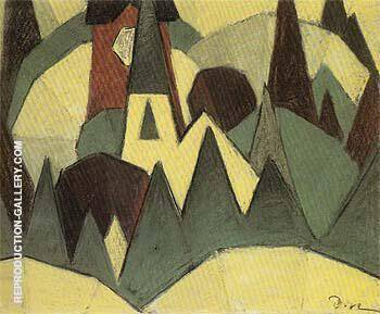 Nature Symbolized No 3 Steeple and Trees 1911 By Arthur Dove - Oil Paintings & Art Reproductions - Reproduction Gallery
