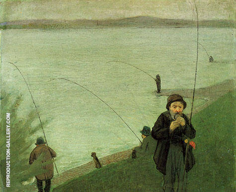 Reproduction of Anglers on the Rhine 1905 by August Macke | Oil Painting Replica On CanvasReproduction Gallery