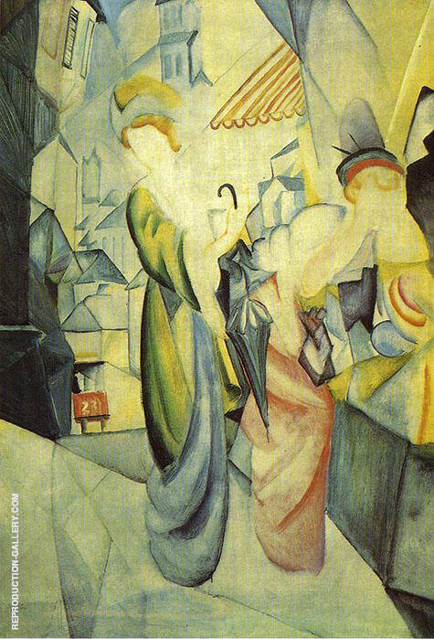 Bright Women in front of the Hat Shop 1913 By August Macke - Oil Paintings & Art Reproductions - Reproduction Gallery