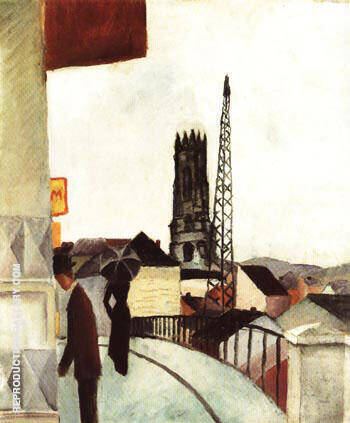 Cathedral at Freiburg Switzerland 1914 By August Macke - Oil Paintings & Art Reproductions - Reproduction Gallery
