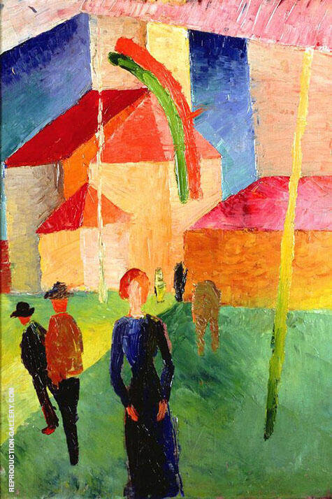 Church with Flags 1914 By August Macke