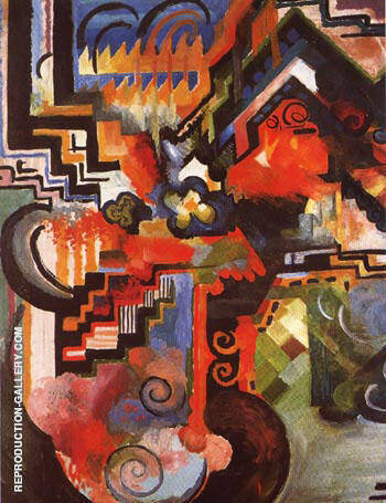 Coloured Composition Hommage a Johann Sebastian Bach 1912 By August Macke - Oil Paintings & Art Reproductions - Reproduction Gallery