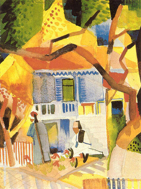Courtyard of a Villa at St Germain 1914 By August Macke - Oil Paintings & Art Reproductions - Reproduction Gallery