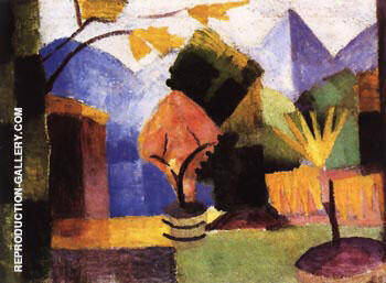 Garden on Lake of Thun 1913 By August Macke - Oil Paintings & Art Reproductions - Reproduction Gallery