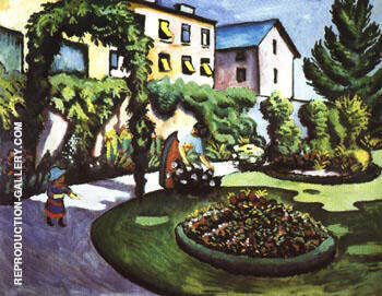Reproduction of Garden Picture by August Macke | Oil Painting Replica On CanvasReproduction Gallery