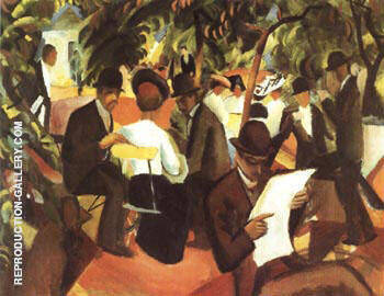 Garden Restaurant 1912 By August Macke - Oil Paintings & Art Reproductions - Reproduction Gallery