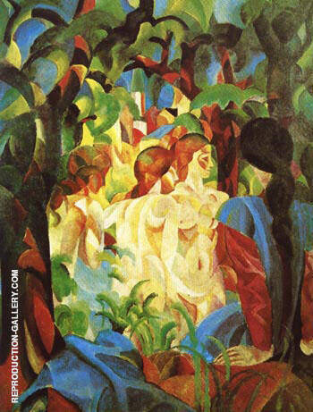 Girls Bathing with Town in Background 1913 By August Macke