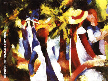 Girls under Trees 1914 By August Macke Replica Paintings on Canvas - Reproduction Gallery