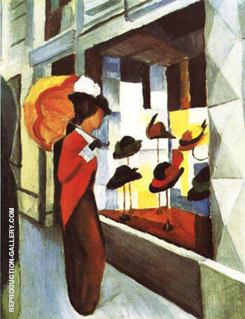 Hat Shop 1914 By August Macke - Oil Paintings & Art Reproductions - Reproduction Gallery